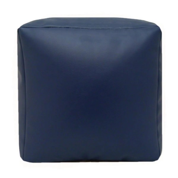 navy blue faux leather cube footstool