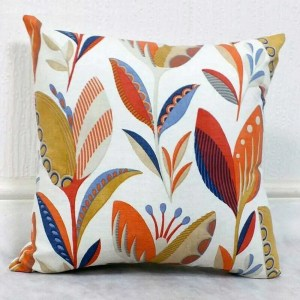 orange tulip pattern scatter cushion cover