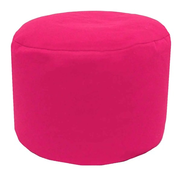 pink cotton drill round footstool pouffe