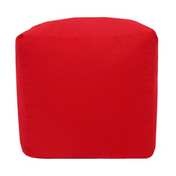 red cotton drill cube fabric footstool pouffe