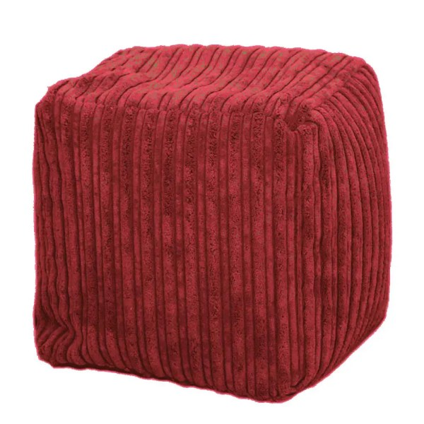 red large chunky cord pouffe footstool
