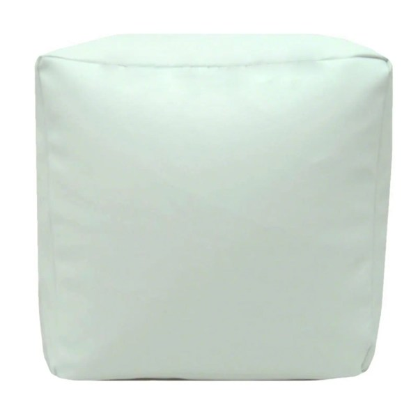white faux leather cube footstool