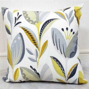 yellow grey tulip pattern scatter cushion cover