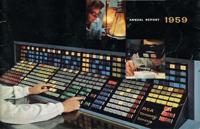Rengarenk, ışıl ışıl bu buton cenneti Amerikan Radyo Kurumu'nun 1959 tarihli yıllık raporunun kapağını süslüyordu.