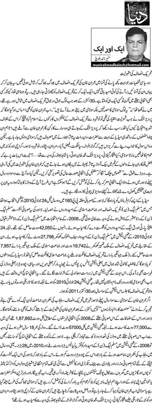 Tehrike Insaf Ki Maqboliat - Munir Ahmed Baloch