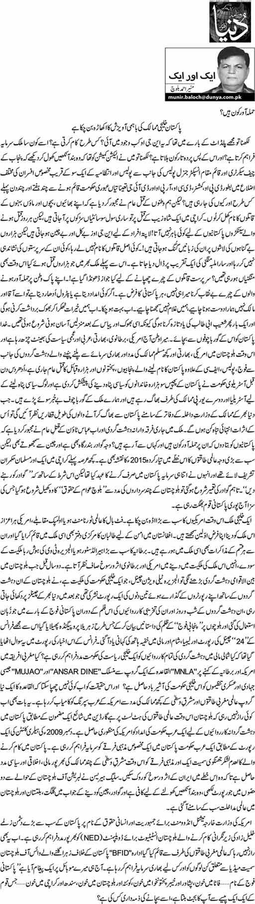 Hamla awar kon hain? - Munir Ahmed Baloch