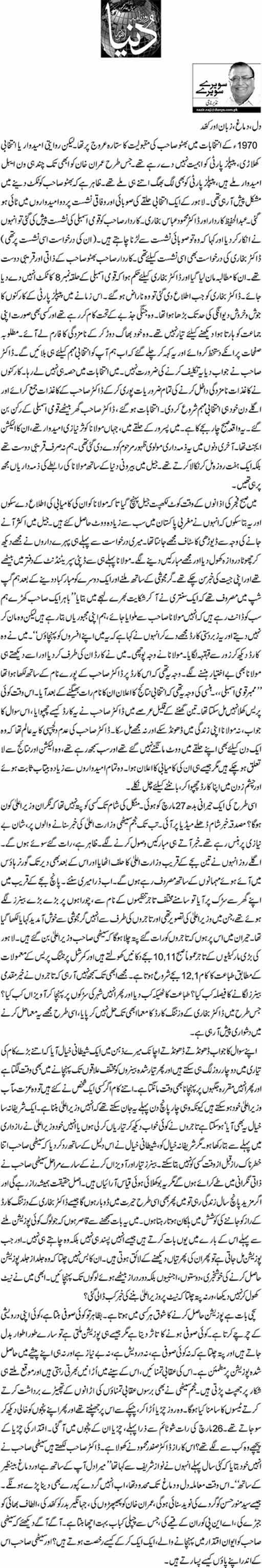 Dil, Demagh, Zuban Aur Khad - Nazeer Naji