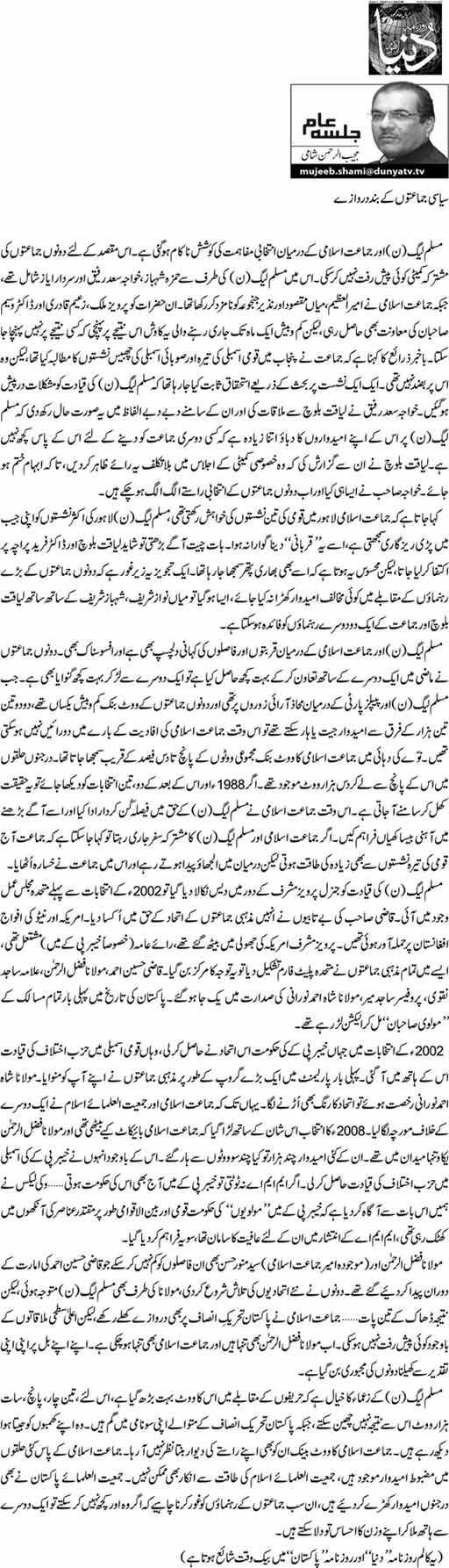 Siyasi Jamaton K Band Darwazay - Mujeeb ur Rehman Shami