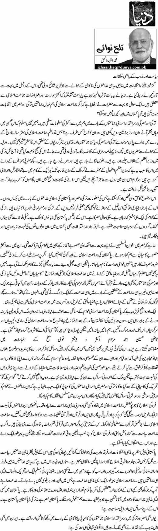 Siyasat Aur Mazhab K Bahmi Tallukaat - M. Izhar ul Haq