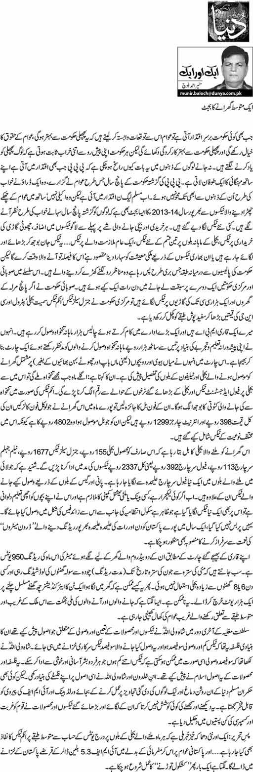 Aik Mutwassit Gharanay Ka Budget - Munir Ahmed Balochik Mutwassit Gharanay Ka Budget - Munir Ahmed Baloch