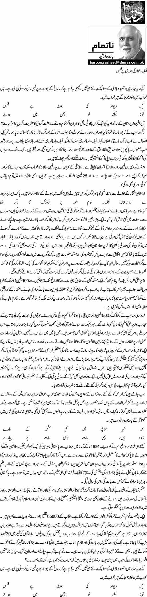 Aik Deewar Ki Dori Hai Qafs - Haroon ur Rasheed