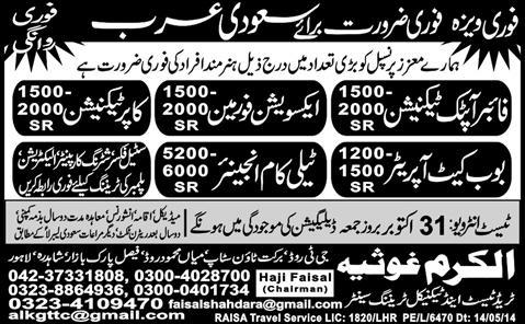 Fiber Optic / DSL Technician, Telecom Engineer And Skilled Worker Required In Saudi Arabia