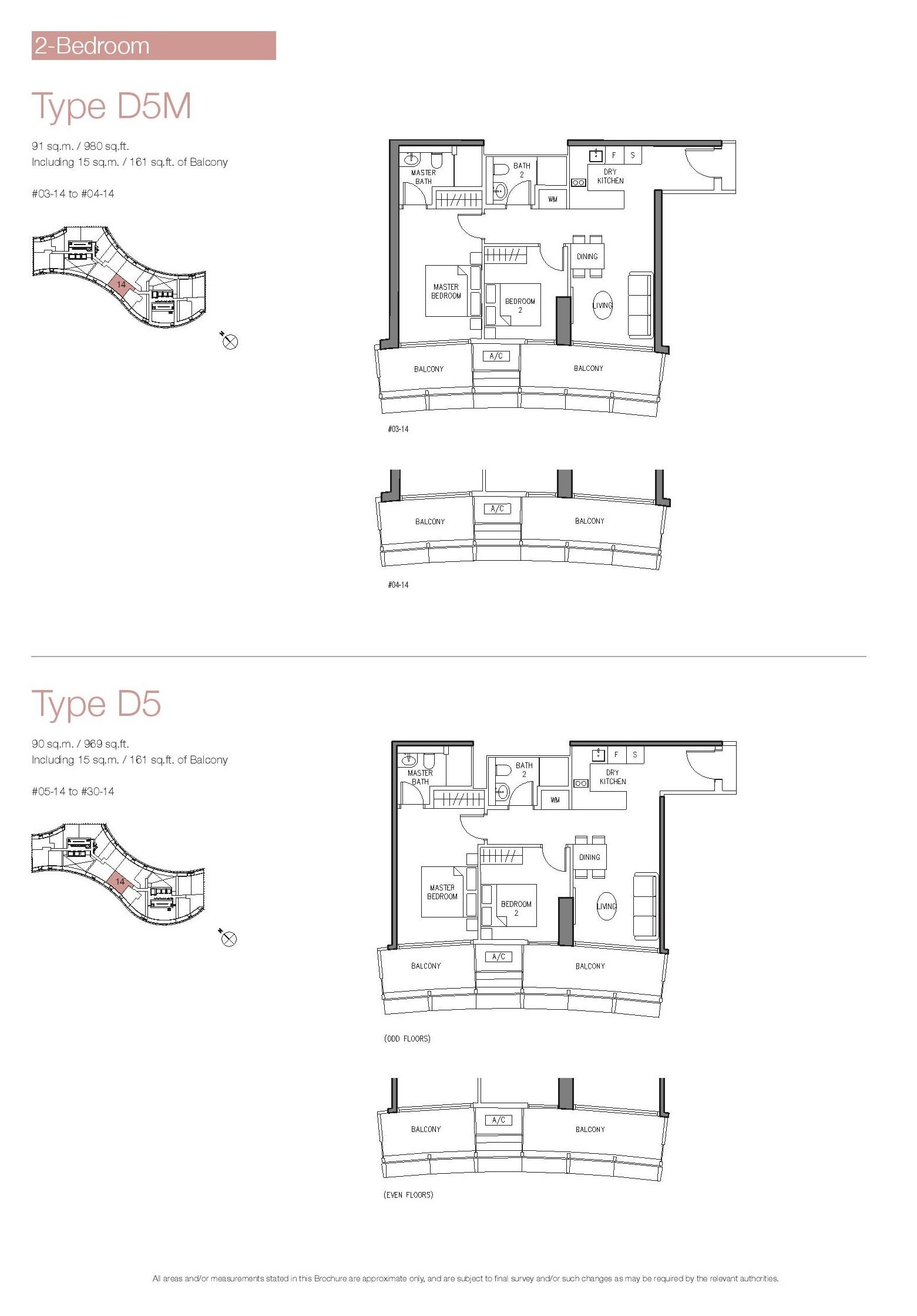 Duo Residences 2 Bedroom Floor Plan Type D5, D5M