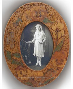 Turn-of-the-Century Pyrographic Oval Frame