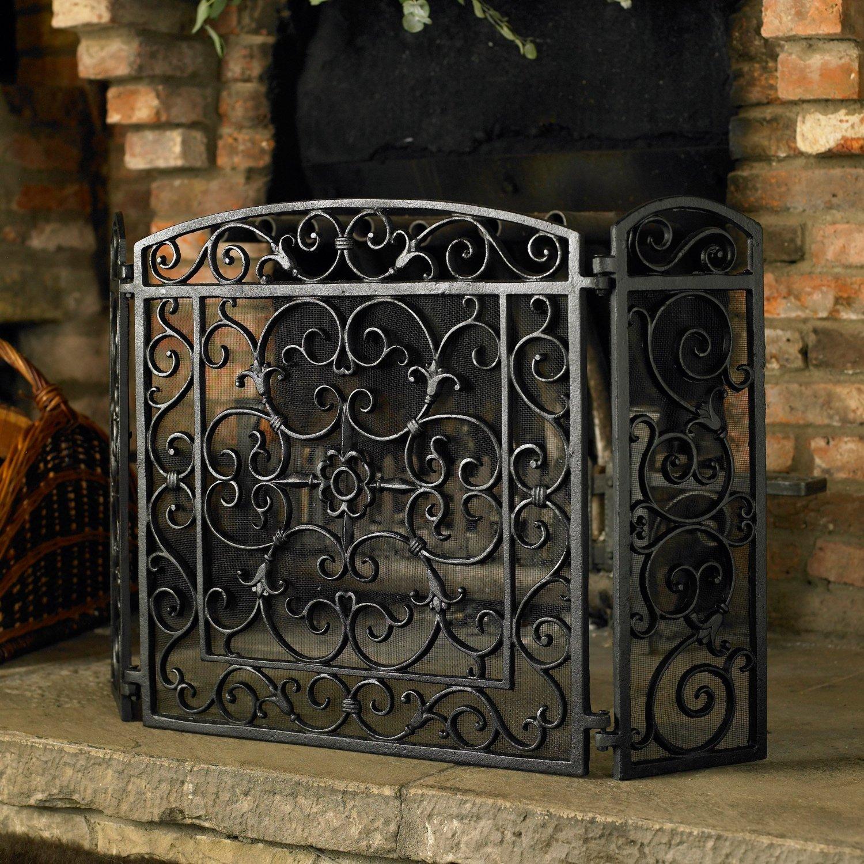 Duqaa Black Cast Iron Fireplace Screen Panel Info
