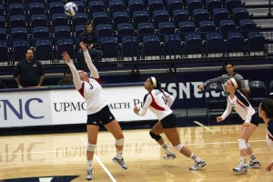 Claire Murray | The Duquesne Duke Sophomore setter Mary Henry attempts to keep the ball in play in the Duquesne women's volleyball team's 3-2 win over Xavier.
