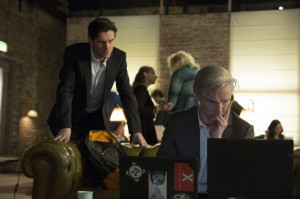 "This image released by Dreamworks Pictures shows Dan Stevens as journalist Ian Katz, left,  and Benedict Cumberbatch as WikiLeaks founder Julian Assange in a scene from ""The Fifth Estate."" (AP Photo/Dreamworks Pictures,  Frank Connor)"