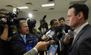 AP Photo. Mayor Luke Ravenstahl listens to questions from the media on Oct. 23 at the opening of the Pittsburgh Public Market in its new location in the Strip District.