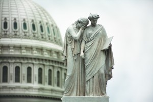 AP Photo. The Peace Monument sits outside of the Capitol Building in Washington, D.C. The government still faces financial issues after a two week shutdown.