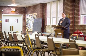 Photo by Aaron Warnick | Photo Editor. Mayoral candidate Bill Peduto speaks at the Lincoln Place Presbyterian Church on Monday morning. Peduto was the only candidate to appear at the first forum.