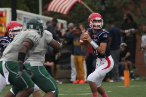 Taylor Miles   The Duquesne Duke Quarterback Dillon Buechel looks for an open receiver in last weekend's 34-17 victory over Wagner. The Dukes are now 3-2 on the season.