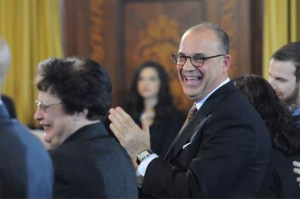 AP Photo. Newly elected Pittsburgh City Council President Bruce Kraus (right) and former council President Darlene Harris applaud during the council's annual swearing-in ceremony on Jan. 6 in council chambers in the City-County Building, Downtown.