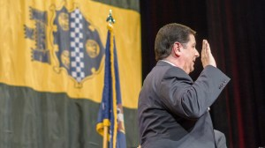 Photo by Aaron Warnick | Photo Editor. Bill Peduto takes the oath of office on Monday afternoon at Heinz Hall to become the city of Pittsburgh's 60th mayor.