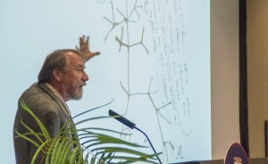 Photo by Claire Murray   Asst. Photo Editor. Michigan State professor Richard Lenski speaks at Darwin Day on Wednesday.