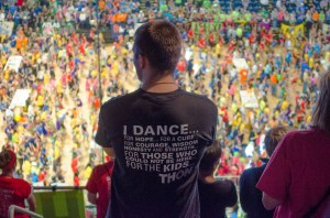 Photo by Andy Hornak | The Duquesne Duke. A THON participant overlooks the scene inside Bryce Jordan Center on Saturday. The 46-hour dance marathon raised over $13.3 million for the Four Diamonds Fund, which helps treat children at Penn State Hershey Children's Hospital.