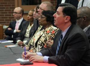 Photo by Claire Murray | Asst. Photo Editor. Mayor Bill Peduto responds to concerns from residents Monday in Beltzhoover.