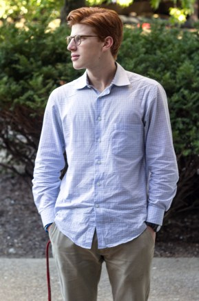 (Fred Blauth / The Duquesne Duke) Senior finance major Andy Mysliwiec wears a button-up and Khaki pants.