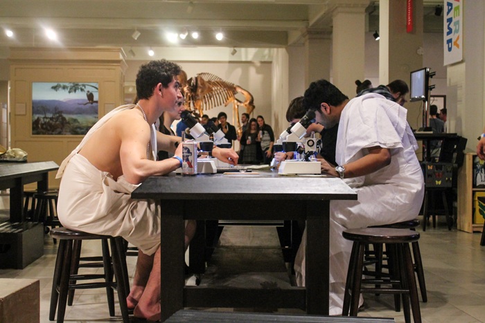 Fred Blauth/The Duquesne Duke - A table of attendees from After Dark are spotted in makeshift togas.