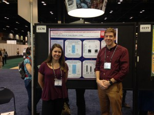 Courtesy of Katelyn Sadler Biology Ph.D student Katelyn Sadler and Duquesne professor Ben Kolber pose for a photo at the Neuroscience 2015 Conference, where they presented Sadler's research on the causes of bladder pain. Sadler received a grant for her work.
