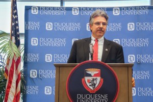 By Julian Routh | Editor-in-Chief Law school Dean Ken Gormley speaks to the media at a press conference Wednesday morning, where he was named as the next president of Duquesne. Gormley is a Pittsburgh native with more than a decade of experience at the university.