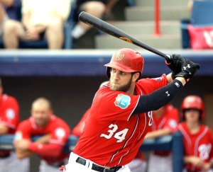 Washington Nationals' Bryce Harper (34) bats against the Detroit Tigers in a spring training baseball game, Saturday, March 5, 2016, in Viera, Fla.