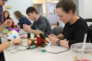 Photo by Kailey Love | The Duquesne Duke. The hackers met this past Tuesday to rewire toys in hopes of making them easier to operate for children with disabilities.