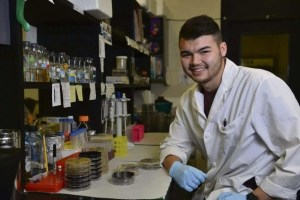 Courtesy of Zachary Resko Junior Duquesne biology student Zachary Resko is the first in his family to attend college. Resko recently received the distinguished Barry Goldwater Scholarship to continue his research into using bacteria strains to improve vaccinations.
