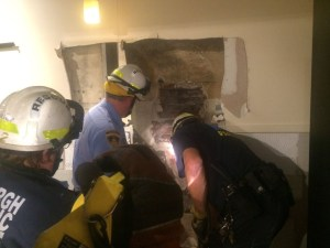 Pittsburgh police had to cut a hole into the Oakland Qdoba in attempt to free Birdsong from being trapped.