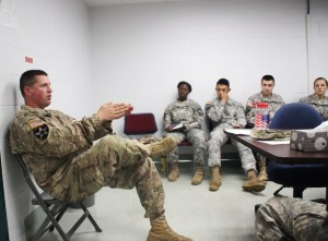 Brandon Addeo | News Editor Sgt. First Class James Henderson teaches a class at the Army ROTC's Three Rivers Battalion training on Sept. 17.