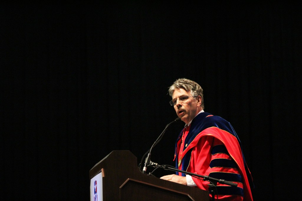 Brandon Addeo | News Editor Duquesne President Ken Gormley address a crowd of about 2,000 at his inauguration ceremony on Sept. 22.