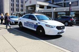 Maggie Gates | Staff Photographer A Duquesne public safety vehicles sits outside the Student Union on Wednesday.