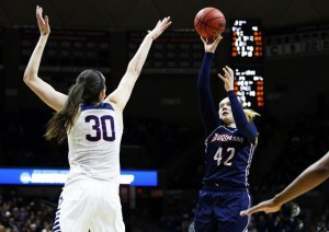 Courtesy of Duquesne Athletics Kadri-Ann Lass shoots over Breanna Stewart in the second round of the 2016 NCAA Tournament.