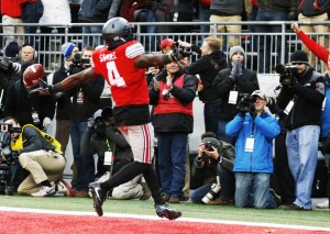 Ohio State running back Curtis Samuel celebrates his touchdown against Michigan during the second overtime of an NCAA college football game Saturday, Nov. 26, 2016, in Columbus, Ohio. Ohio State beat Michigan 30-27 in double overtime. (AP Photo/Jay LaPrete)