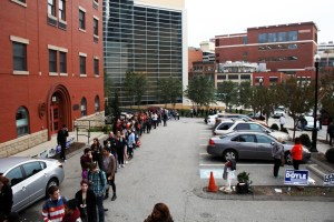 Rachel Strickland | Staff Photographer Polling lines stretch for a block down Washington Place.  Pittsburgh's Ward 1 District 1, which covers Downtown and the Bluff, voted 69.5 percent in favor of Clinton.