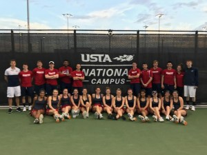 Courtesy of Kylie Isaacs | Duquesne tennis poses for a team photo at the USTA National Campus, where they will fight for an A-10 title.