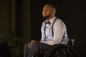 Brandon Addeo/News Editor  Leon Ford, a Pittsburgh resident who was shot and paralyzed by Pittsburgh Police in 2012, gave a speech at the Power Center Ballroom on Feb. 23 about optimism.