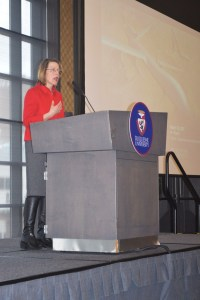 Jordan Miller|Staff Photographer Notre Dame law professor Mary Ellen O'Connell speaks at the lecture in the Power Center Ballroom March 15. She outlined ethical and moral concerns with drones.