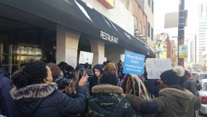 Protest outside of Pizza Milano