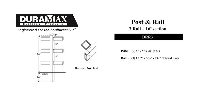 3 Rail 3 1/2″H x 16″W