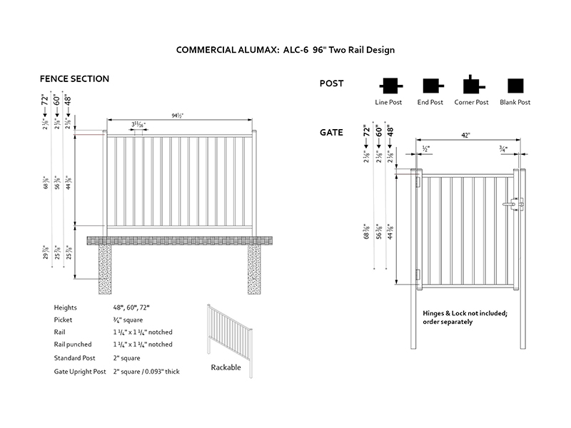 Commercial Two Rail Design 8'W